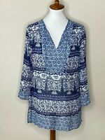 Fig & Flower Blue White Floral Sheer Long Sleeve Top Shirt V-Neck Women's