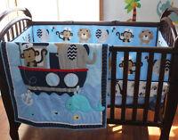9 Pcs Boy Baby Bedding Set Animal Sea Boat Nursery Quilt Bumper Sheet Crib Skirt