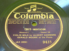 "78 rpm-12"" ALBERT SAMMONS Violin - GERALD MOORE Piano - COLUMBIA 9415"
