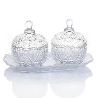 Glass Crystal  8 Ounce Sugar Bowl Set and Tray/Decorative Candy Dish,3 Piece Set