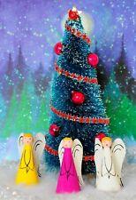 "6"" Bottle Brush Christmas Tree + 3 Balsam Wood Angels"