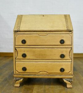 Antique style carved writing bureau / desk with drawers