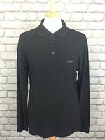 ARMANI JEANS MENS UK XL BLACK LONG SLEEVE COLLARED POLO TOP RRP £90