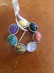 new silver brooch pin with semi precious stones with scarab design
