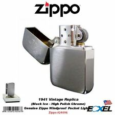 Zippo 24096, 1941 Vintage Replica Pocket Lighter, Black Ice, Genuine USA, Box
