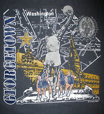 vtg GEORGETOWN HOYAS BASKETBALL T SHIRT Urban City Map Washington DC 80s 90s XL