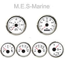 Complete Waterproof Marine Boat 6 Gauge Set Speedo Tacho Temp Fuel Volts White