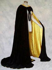 Black Velvet Cloak Lined Cape Men Hooded XL Victorian Renfaire Capelet Medieval