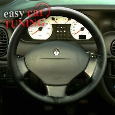 FOR NEW RENAULT SCENIC 1996-03 BLACK REAL GENUINE LEATHER STEERING WHEEL COVER