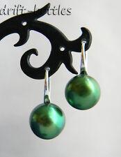 11mm Green Flat Round Freshwater Pearl Dangle Earring