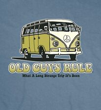 "OLD GUYS RULE "" WHAT A LONG STRANGE TRIP IT'S BEEN "" VW PEACE VAN BLUE S/S 2X"