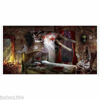HALLOWEEN HORROR HAUNTED MANSION BANNER POSTER HOUSE GHOST PARTY WALL DECORATION