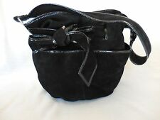 Kooba Women's Handbag Black Suede Round Hobo Shoulder Bag