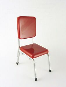 Dollhouse Miniature Retro Red & Silver Dining Chair, T5913