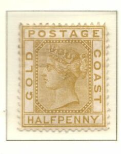 Gold Coast 1879 1/2d Olive yellow wmk crown CC MM SG4 Cat £90.00