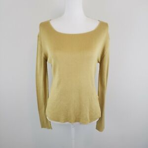 ETRO Milano Women's Gold 100% Silk Knit Long Sleeve Top Fitted Size 46 IT 10 US