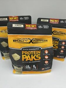 (3) Vanilla Body Fortress Protein Paks. Whey Protein 18 packs each 12/21