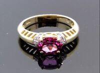 Women's 14k Yellow Gold Diamond Garnet Ring 3.3g 1.60 TCW G SI1 Size 7  #30707