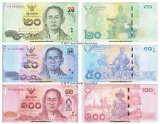 Thailand 20 + 50 + 100 Baht 2012 - 2016 Set of 3 Banknotes 3 PCS King Rama UNC