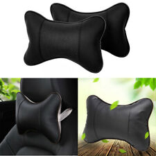 2pc Car Seat Headrest Pad Pillow PU leather Neck Rest Support Foam Cushion Black