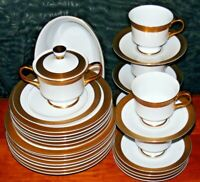 SANGO 3755 GEORGETOWN 29 PC DINNERWARE SET GOLD BAND PLATES BOWLS CUPS CREAMER