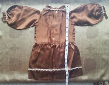 A41 Vintage Doll Dress Brown Silk Drop Waist Edwardian Style Teddy Bear