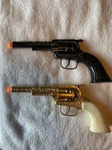 Lot of 4 Vintage Tootsie Toy Pony Boy Cap Guns. 2 Holsters. All Guns Work.