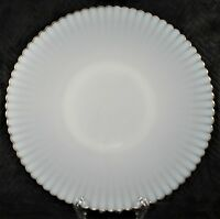 """Vintage Made in USA Milk Glass 11"""" Plate - Scalloped Ruffled Gold Trim"""