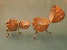 Coral Gold Enamel Decorative Faberge Egg Hinged Magnetic Keepsake Miniature Box