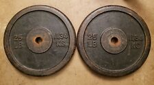 Pair of 25LB Barbell Weight Plates Standard size 50lbs total
