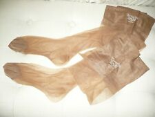 2 Pair Vintage Christian Dior Nylon Stockings Ultra Dior Flat Knit Sz 9 S Sand