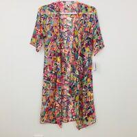 LuLaRoe Women's Top Cardigan Size S Multicolor Shirley Kimono Coverup Sheer