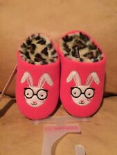 Kensie Brand Girl's Pink Rabbit Leopar Print House Shoes Slippers Size 11/12 NEW