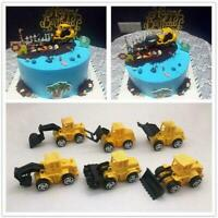 6PCS Construction Vehicle Toy Child Excavator Trolley Birthday Toppers Cake U5A1