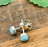 Small/Petite Dominican LARIMAR Studs Earrings 925 Sterling Silver 5MM - P112