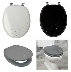 UNIVERSAL BATHROOM WC TOILET SEAT MODERN DIAMANTE WOODEN MDF WITH CHROME HINGES