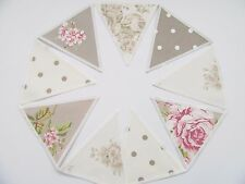 FABRIC BUNTING CLARKE & CLARKE FABRIC Flora, Spot, Tilly Natural Taupe Ivory 5ft