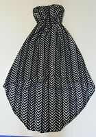 New Look Small Dress Strapless High Low Black White