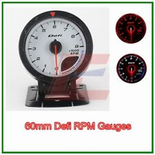60mm def advanced Tacho tachometer RPM gauge Amber red/ white lights white face