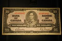 1937 $10 Dollar Bank of Canada Banknote JD2305882 VF 20