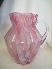 Victorian Cranberry Spatter Glass Large Lemonade Water Pitcher ks1