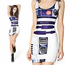 Sexy Printed Mini Dress Star Wars Robot Artoo R2D2 Printed Dress Punk Stretchy