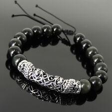 Sacred Geometry Dragon Bracelet Black Obsidian 10mm Sterling Silver Charm 1532