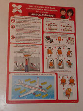 Safety card CONSIGNE de SECURITE airbus A330 A-300 AIR ASIA X INDONESIA SECURITY