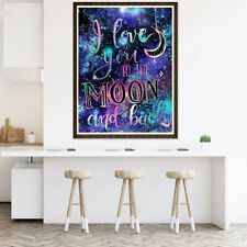 I LOVE YOU TO MOON & BACK FULL ROUND DIAMOND PAINTING CROSS STITCH CRAFTS FUNNY