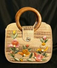 Vintage Large Straw Purse Bags By Whidby Inc. Flowers Wooden Handles Handcrafted