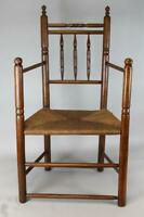 MUSEUM QUALITY AMERICAN 17TH C PILGRIM CARVER ARMCHAIR IN ASH IN OLD SURFACE