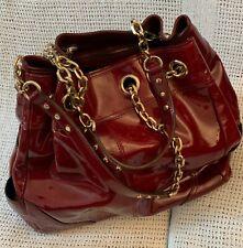 Large *JAEGER* Burgundy Patent Leather Drawstring Tote Chain Shoulder Bag