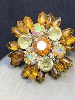Vintage WOW D&E Juliana Style Amber AB Glass  Rhinestone Statement Brooch Pin