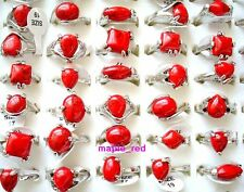 Wholesale bulk lots 25pcs assorted natural stone Red Turquoise Rings jewelry
